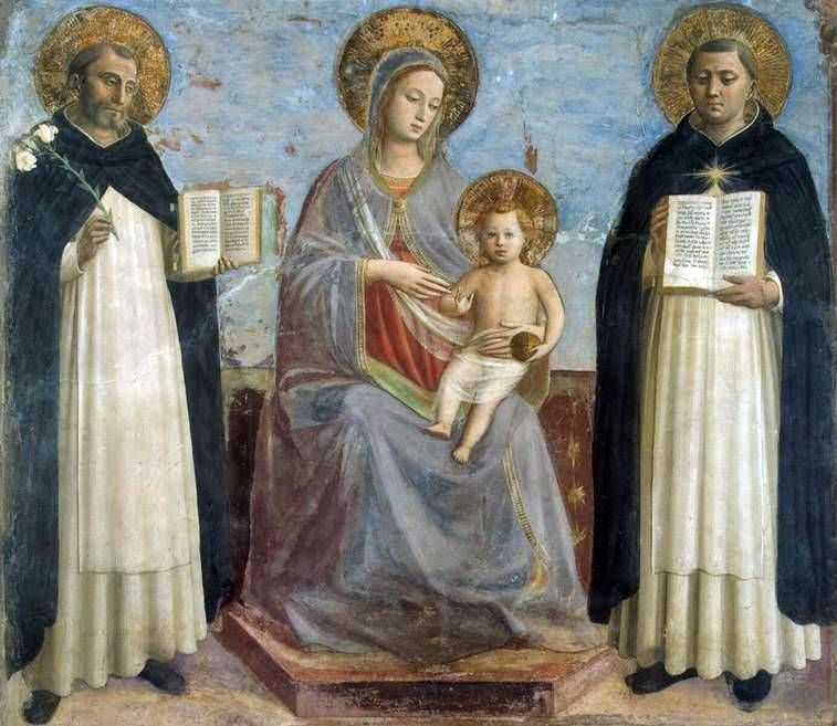 Madonna and Child bersama St. Dominic dan St. Thomas Aquinas   Fra Beato Angelico