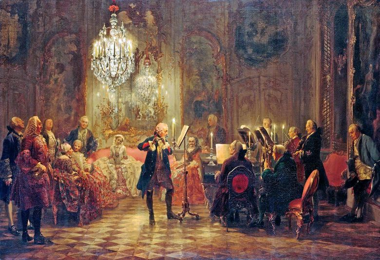 Konser Besar Friedrich di Sanssouci Adolf Menzel