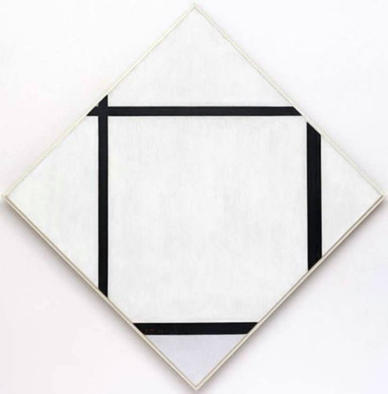 Four Line Grey Diamond   Peter Cornelis Mondrian