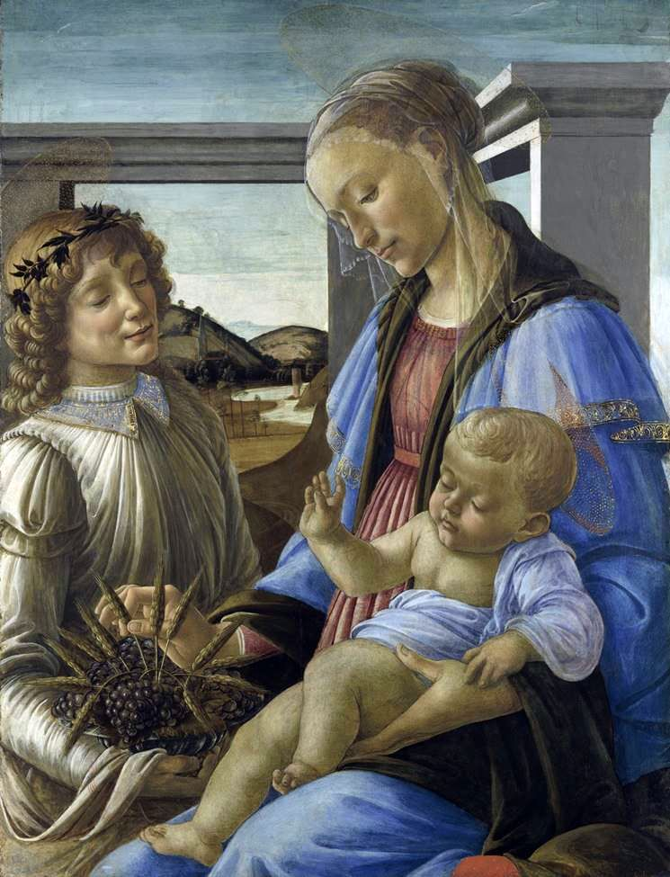 Madonna and Child with an Angel (Madonna of the Eucharist)   Sandro Botticelli